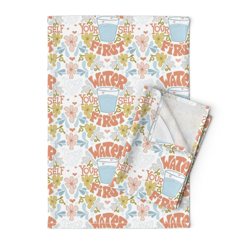 Orpington Tea Towels featuring Water Yourself First by leiah