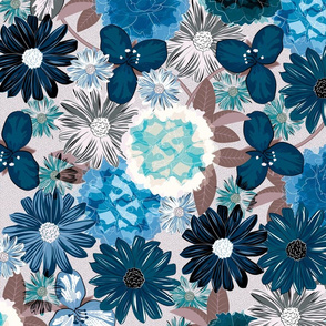 Moody Floral (Cerulean Blue)
