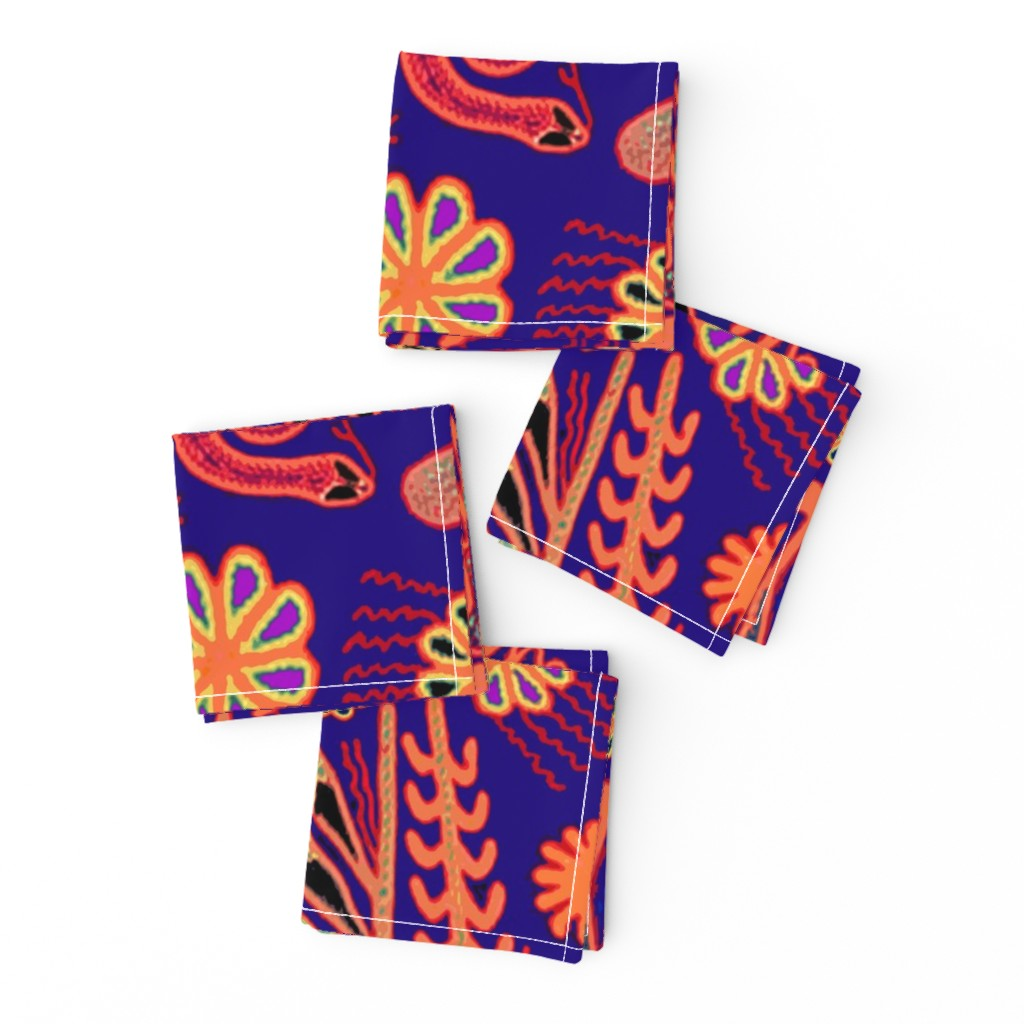 Frizzle Cocktail Napkins featuring Southwest Huichol Hunters by vagabond_folk_art