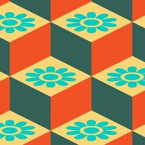 Retro Cubist Vintage Mid-Century Modern Blue Green Orange Yellow