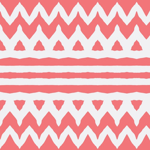 Coral Zebra stripes  & chevron