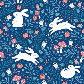 bunnies in the garden blue