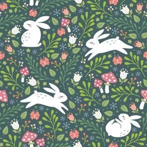bunnies in the garden teal green