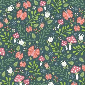 butterflies in the garden teal green