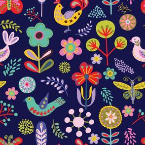 Folk art pattern on a dark background