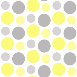 Yellow Gray Grey Polka Dot Circle