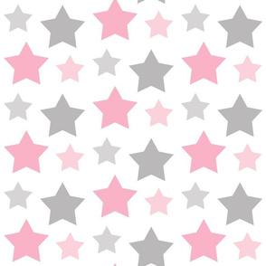 Stars Pink Gray Gray Celestial Girl Nursery