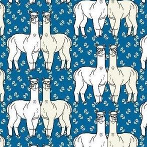 Alpacas White Alpaca With Butterflies Fabric