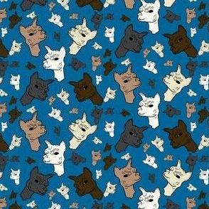 Alpaca Heads Blue Fabric