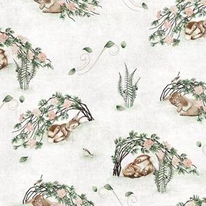 Bunny  Briar Windy Day Antique White, rabbit sparrow bird fern wild rose baby girl kid