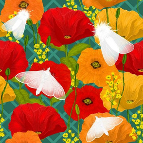 Satin Moths & Poppies