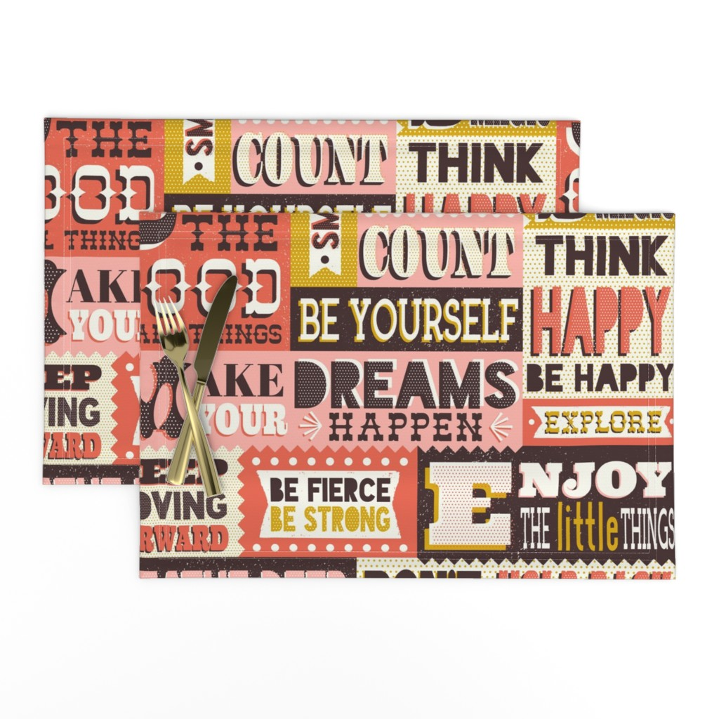 Lamona Cloth Placemats featuring You Inspire Me - Inspirational Quotes Large Scale  by heatherdutton