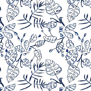 Blue and White Tropical Leaves Chinoiserie