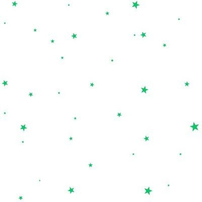 woollypetals starry eyed white with grass green stars
