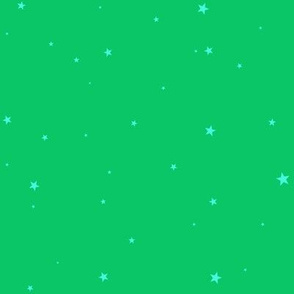 woollypetals starry eyed grass green with robin egg blue stars
