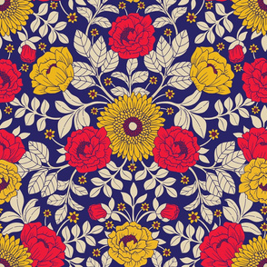 Vibrant Red, Yellow, Blue & White Modern Floral Pattern