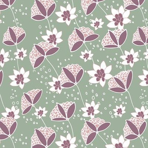 Diagonal tossed floral sage and lilac