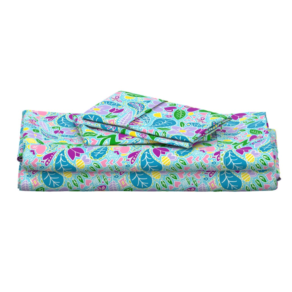 Langshan Full Bed Set featuring Sun & Showers Bring May Flowers / Sky Blue   by franbail