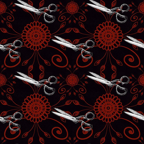 Cutting cloth - Tailors cutting Shears Scissors in deep red and Black