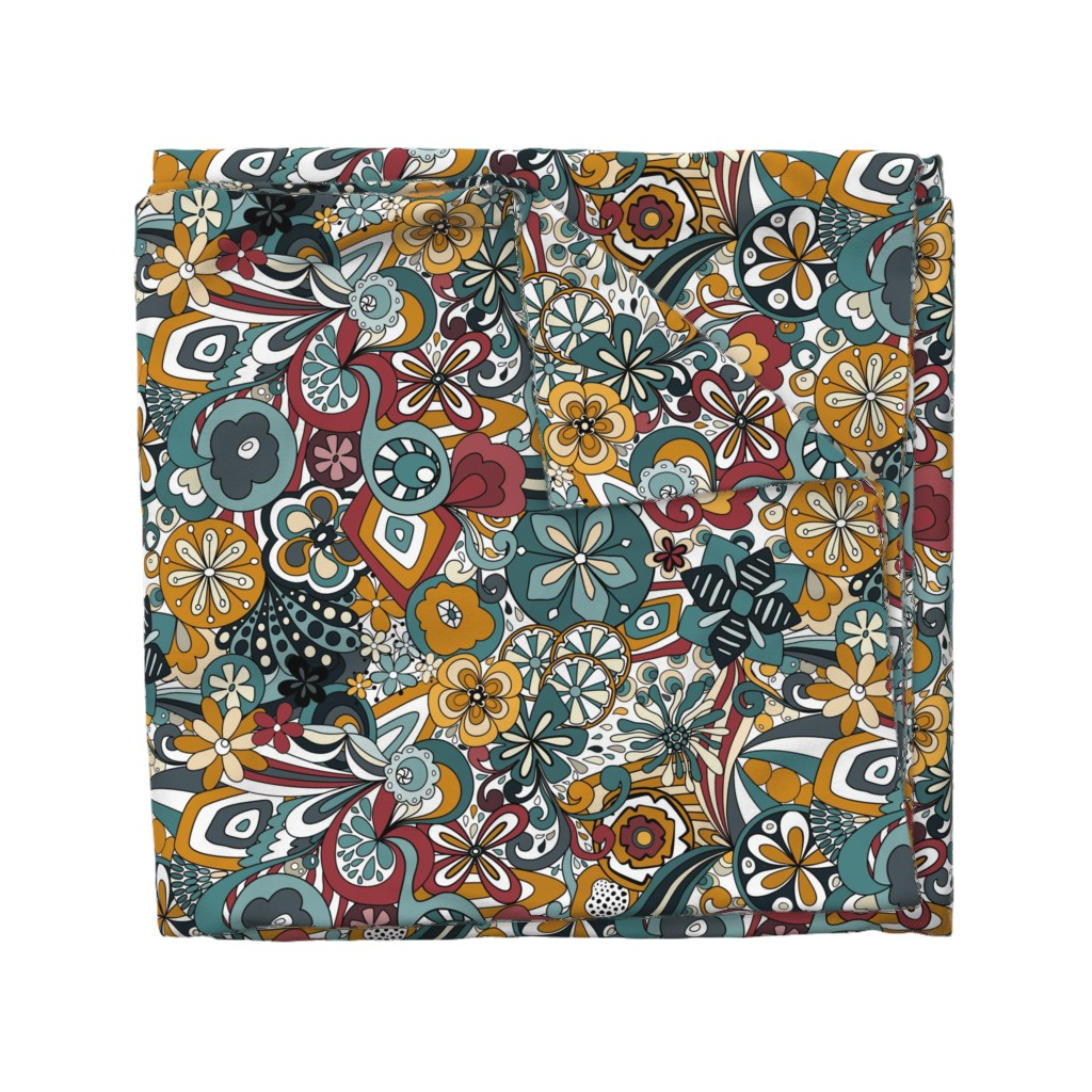 Wyandotte Duvet Cover featuring Retro Moody Florals-Blue and Mustard by paula_ohreen_designs