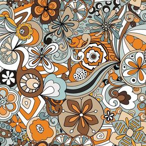 Retro Moody Florals-Orange and Blue