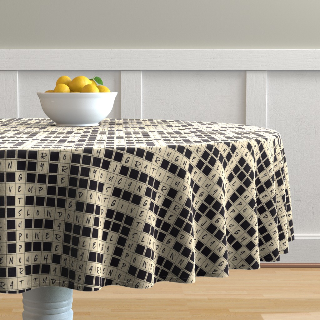 Malay Round Tablecloth featuring crosswords affirmations by patternlady