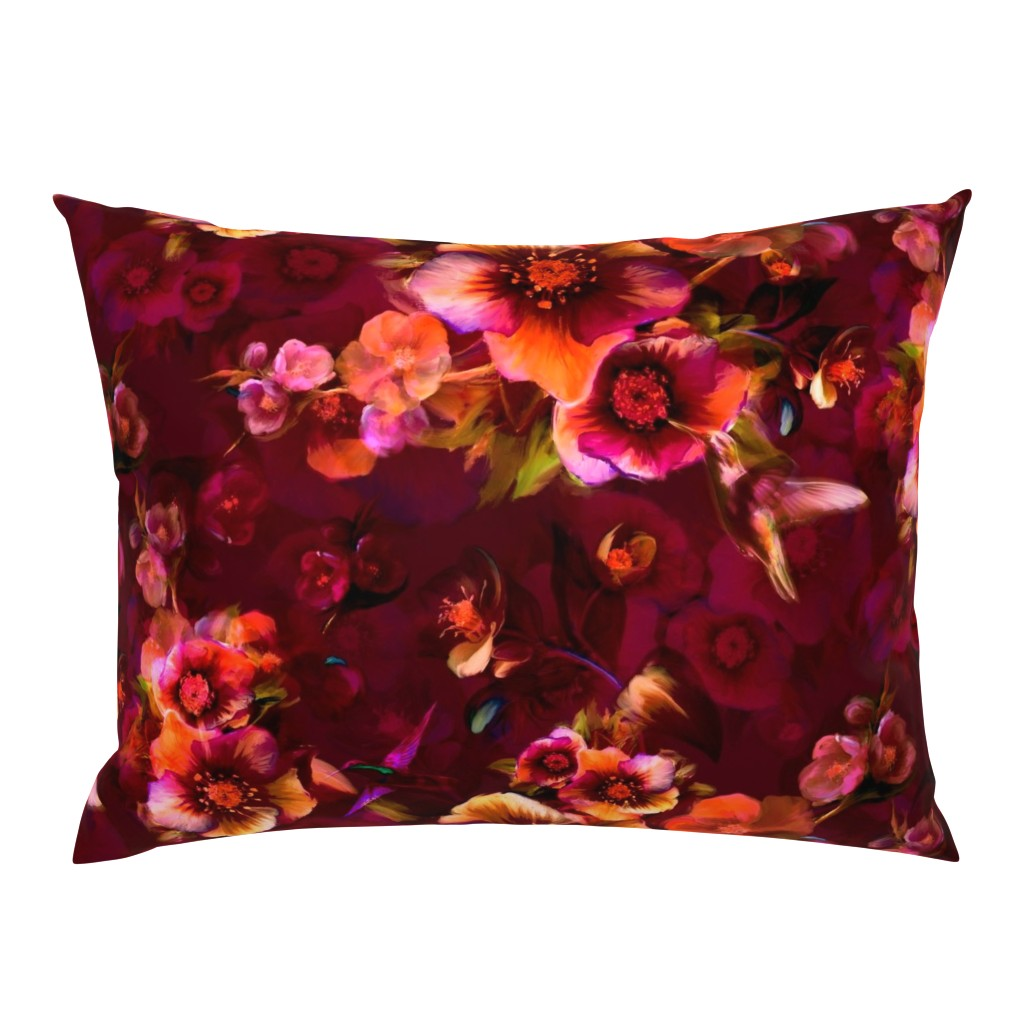 Campine Pillow Sham featuring Moody florals orange by odettel