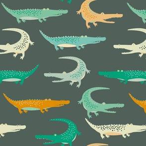 crocodiles on dark green