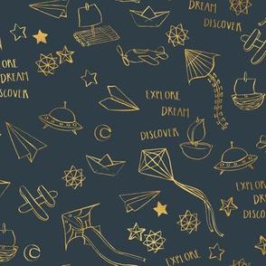Explore Dream Discover {Gold/Grey}