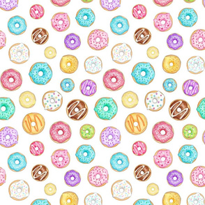 Scattered Rainbow Donuts on white - medium scale