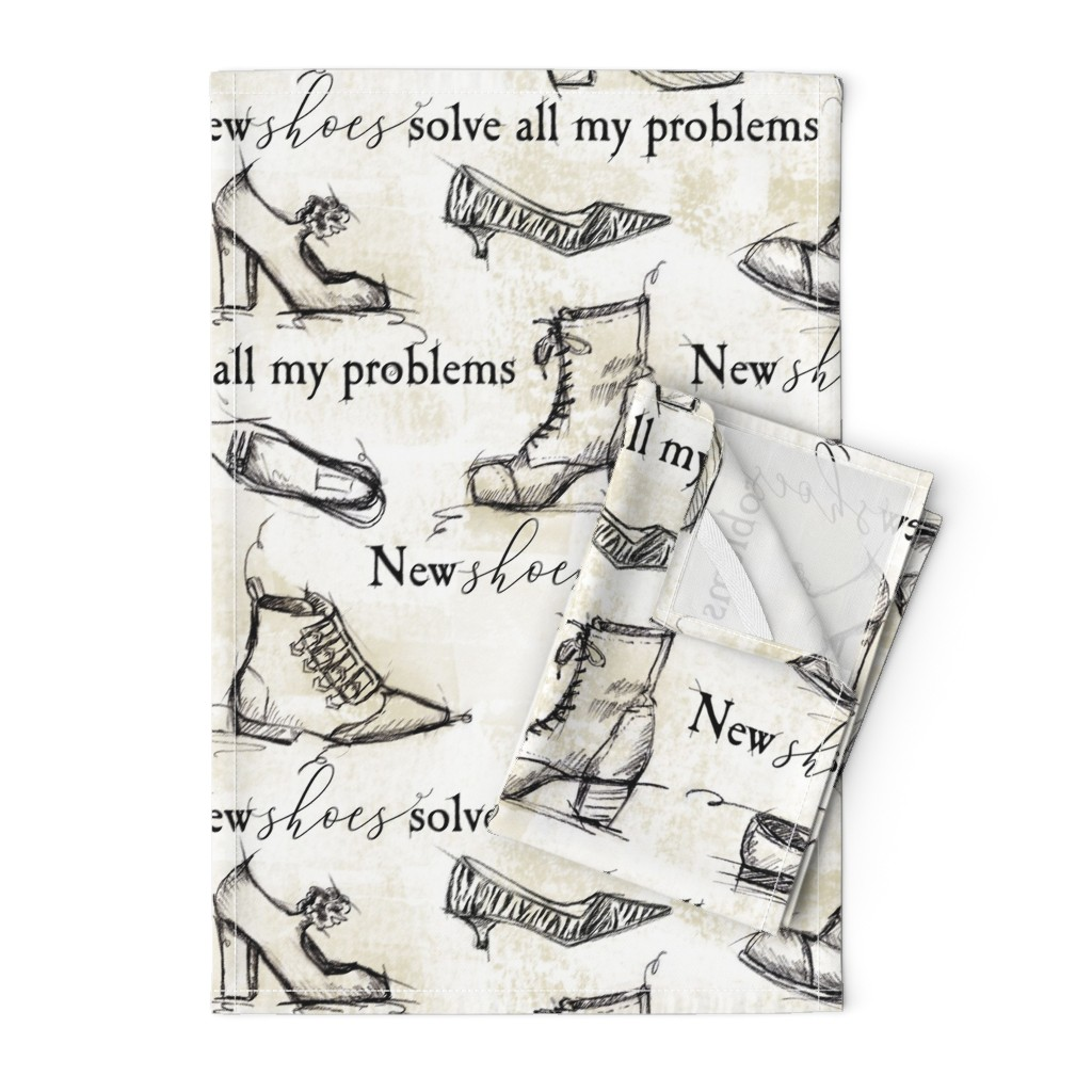 Orpington Tea Towels featuring sketchy shoes and quote by karismithdesigns