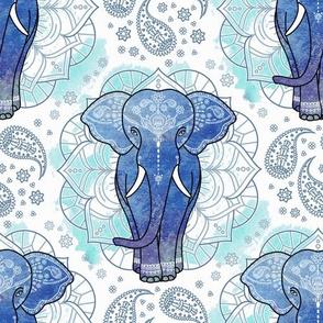 mandala indian elephant mint blue