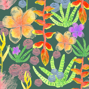 watercolor tropical plants