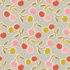 summer cherries on gray