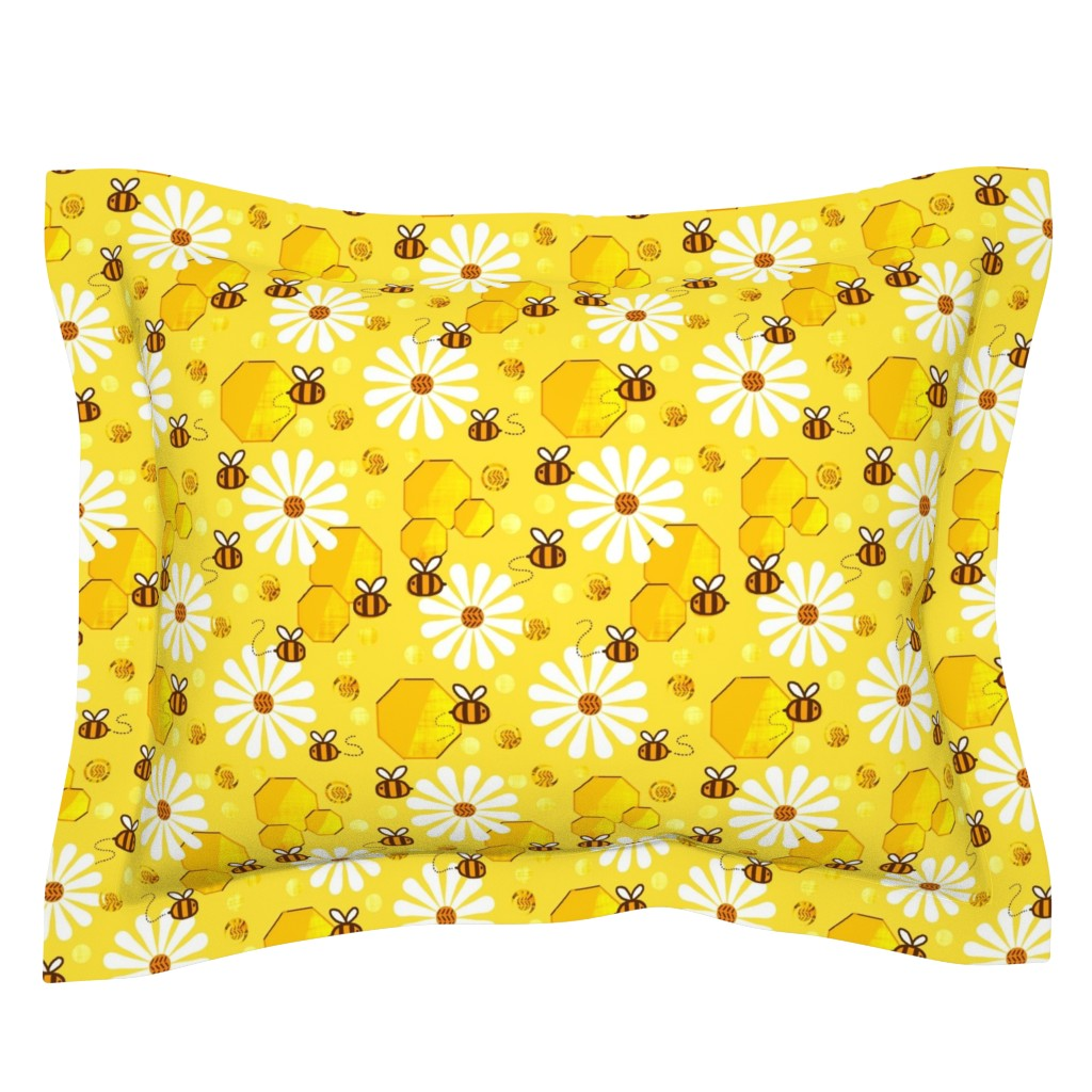 Sebright Pillow Sham featuring Honeycomb Dimension / Bees -  Golden Yellow   by franbail