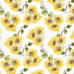 FALL Sunflowers and vines seamless