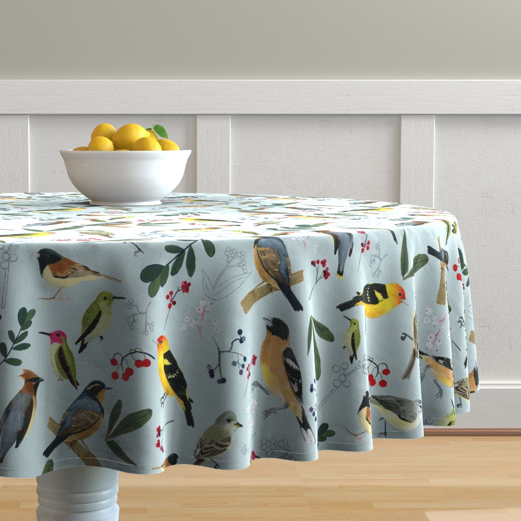 Malay Round Tablecloth featuring West Coast Spring by tarakatedesigns