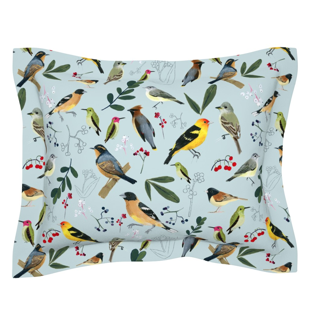 Sebright Pillow Sham featuring West Coast Spring by tararoddenrobinson