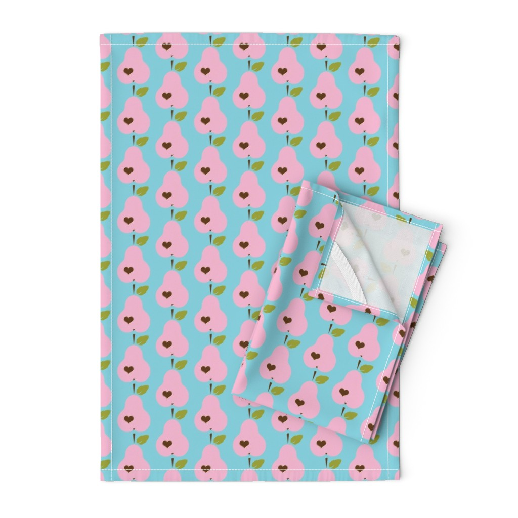 Orpington Tea Towels featuring Yummy retro pears pink by snork