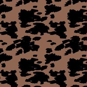Minimal love animal skin cow spots camouflage army fur winter brown black SMALL