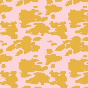 Minimal love animal skin cow spots camouflage army fur summer yellow pink SMALL