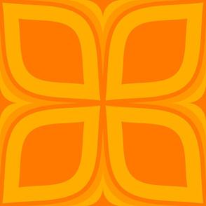 Orange Mid Century Modern 4 Leaf Clover - Jumbo Scale