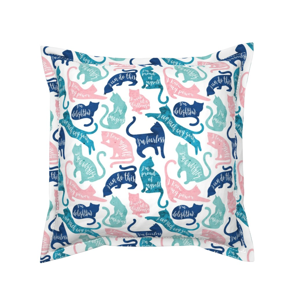 Serama Throw Pillow featuring Be like a cat // small scale // white background pastel pink blue aqua and teal cat silhouettes with affirmations by selmacardoso