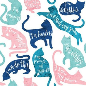 Be like a cat // small scale // white background pastel pink blue aqua and teal cat silhouettes with affirmations
