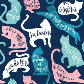 Be like a cat // small scale // midnight blue background white pastel pink aqua and teal cat silhouettes with affirmations