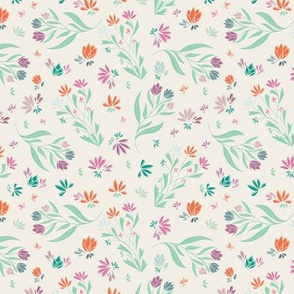 spring floral multicolor seamless pattern pink green blue cream orange