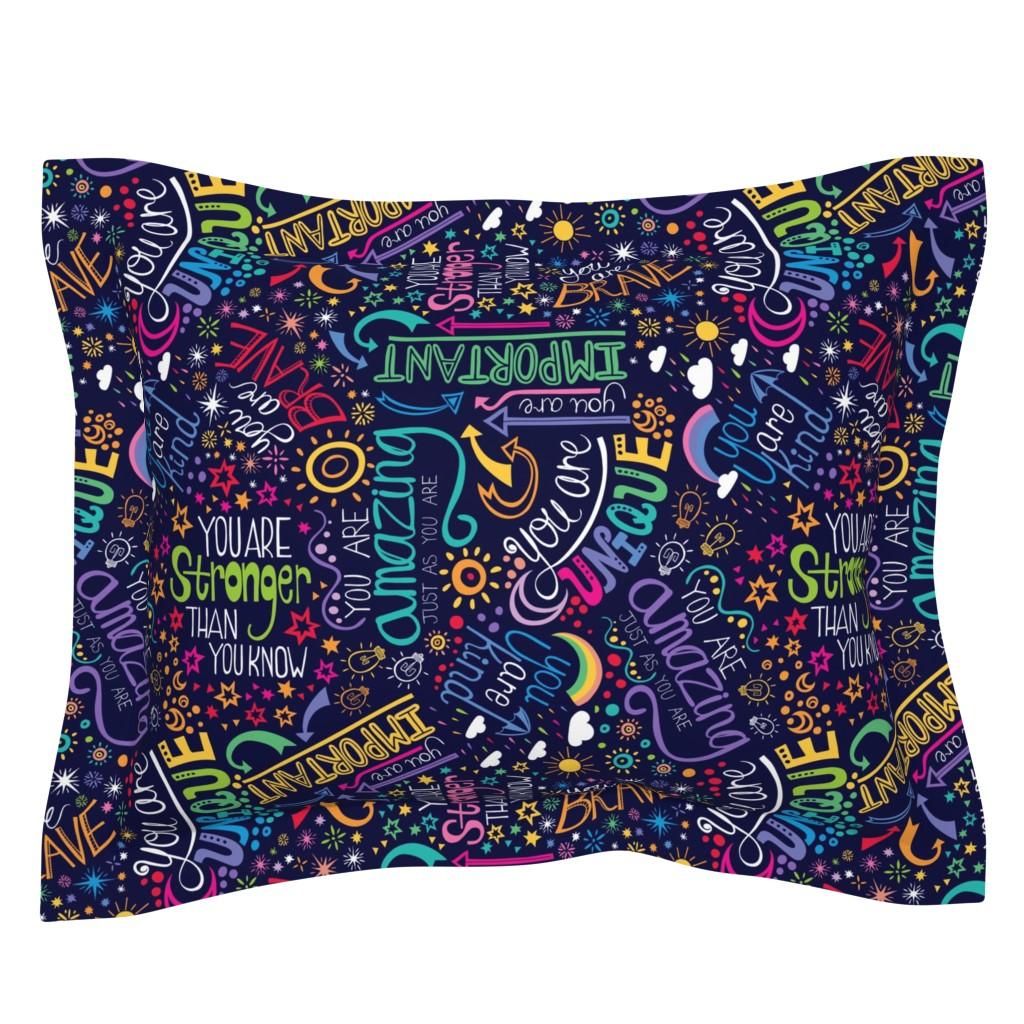 Sebright Pillow Sham featuring Rainbow Affirmations by handypanda