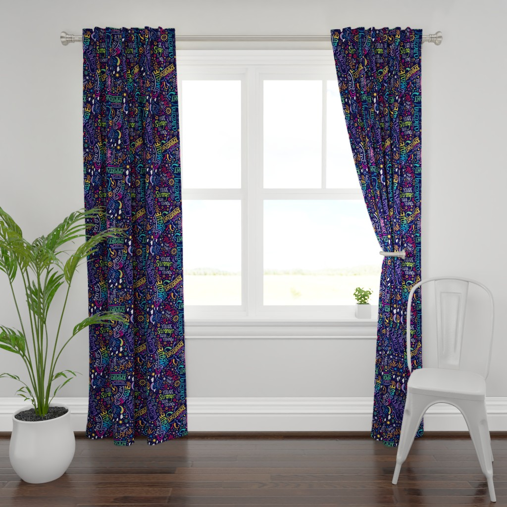 Plymouth Curtain Panel featuring Rainbow Affirmations by handypanda
