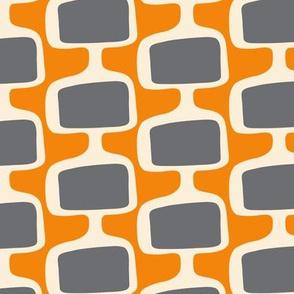 Mid Century Modular  Tv Screens ~ Charcoal on Creamsicle