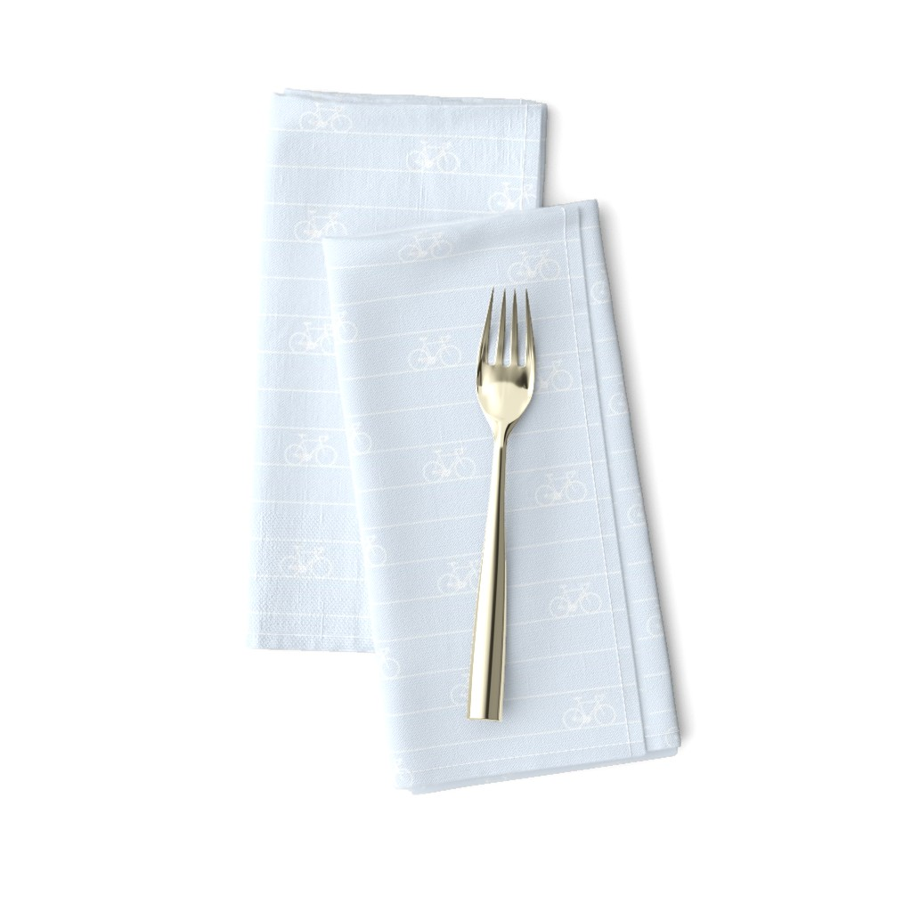 Amarela Dinner Napkins featuring Le Tour - bicycle stripes - white on blue - resize 25% by booboo_collective